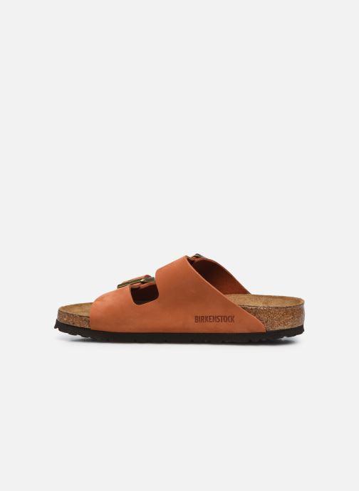 Sandalen Birkenstock Arizona Cuir Nubuck Soft Footbed W orange ansicht von vorne