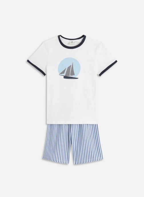 Vêtements Cyrillus Pyjama short jersey/chaine Blanc vue détail/paire