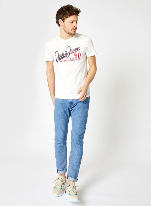 Vêtements Jack & Jones JJELOGO TEE SS O-NECK 2 Blanc vue bas / vue portée sac
