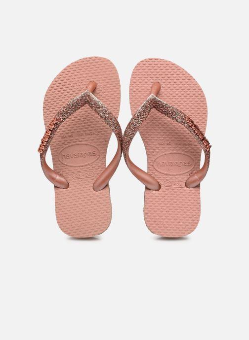 Zehensandalen Havaianas Hav. Slim Glitter II W rosa detaillierte ansicht/modell
