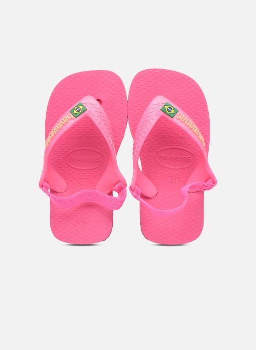 Zehensandalen Havaianas Baby Brasil Logo II rosa schuhe getragen