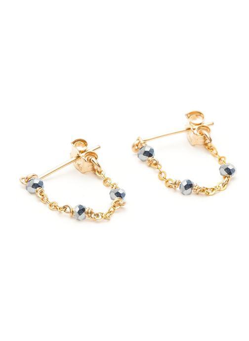 Sonstiges YAY Paris Boucle d'oreilles satellite Chainette or jaune gris paire gold/bronze detaillierte ansicht/modell