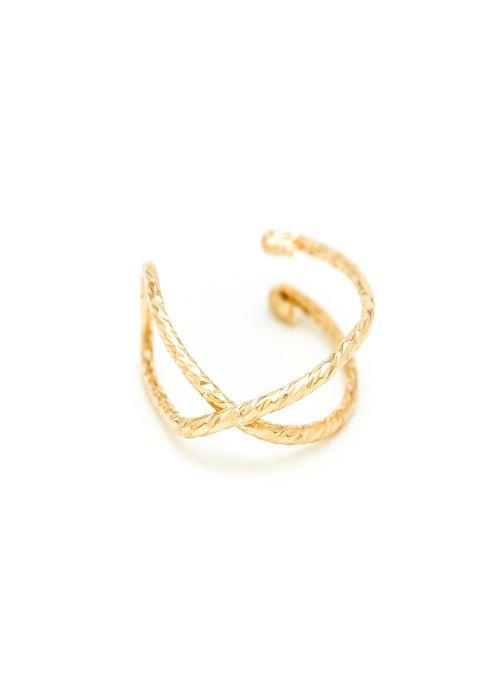 Faux piercing eclat Croisé or jaune sans pierre