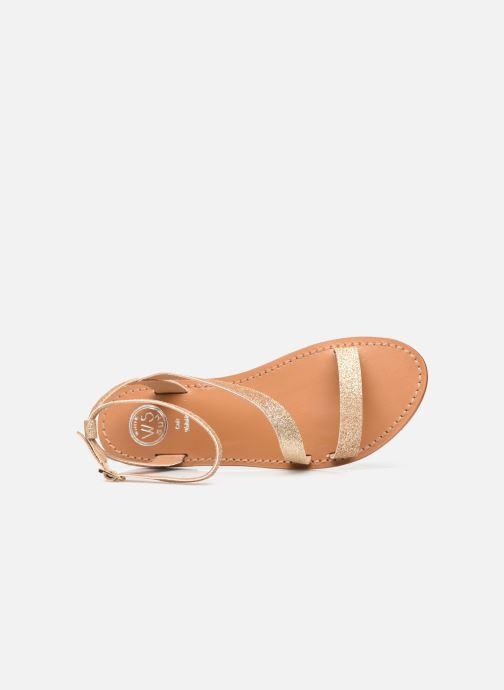 Sandales et nu-pieds White Sun XIGALA Or et bronze vue gauche