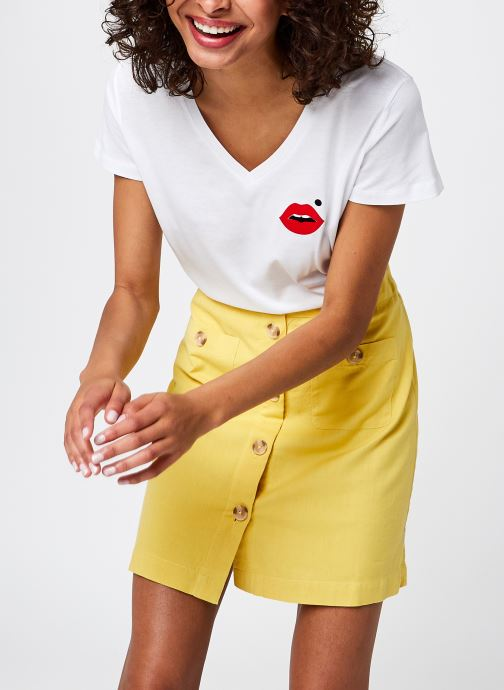 T-Shirt Col V Cindy Blanc