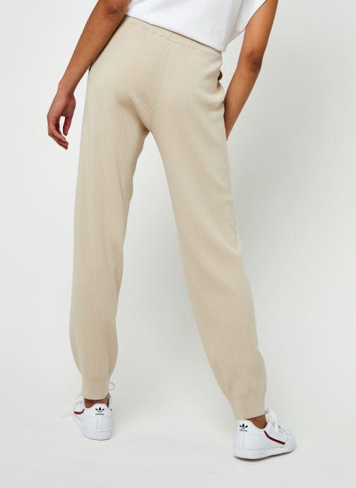 Vêtements Selected Femme Slfmacy Mw Rib Knit Pant B Beige vue portées chaussures