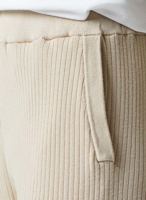 Vêtements Selected Femme Slfmacy Mw Rib Knit Pant B Beige vue face