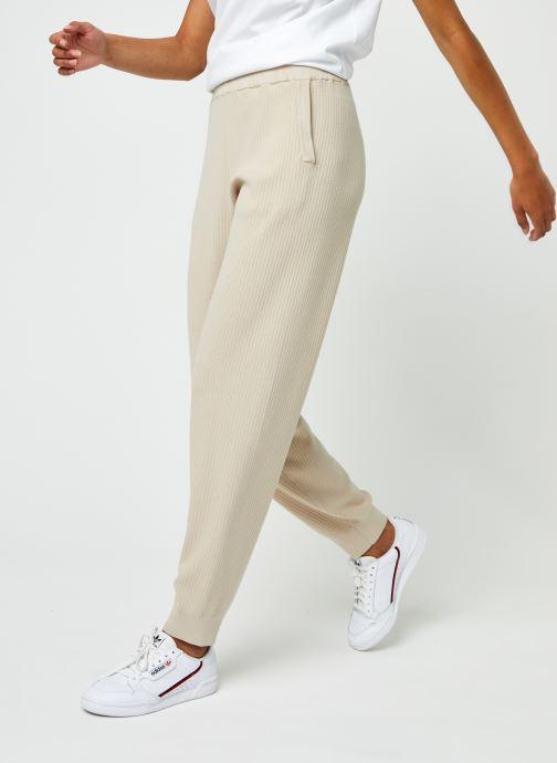 Vêtements Selected Femme Slfmacy Mw Rib Knit Pant B Beige vue détail/paire