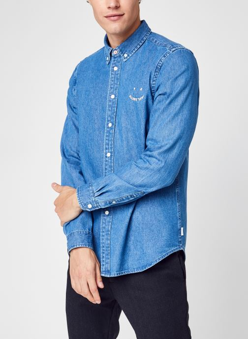 Kleding Accessoires Mens Ls Tailored Fit Shirt Emb Ps Happy