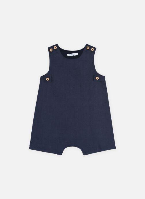 Vêtements Bout'Chou Combinaison courte en lin Bleu vue détail/paire