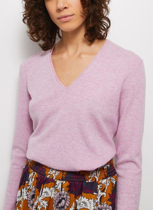 Kleding Monoprix Femme Pull col V en laine contenant du cachemire Paars detail