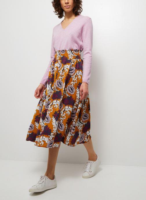Kleding Monoprix Femme Jupe taille smockée imprimée Bruin detail
