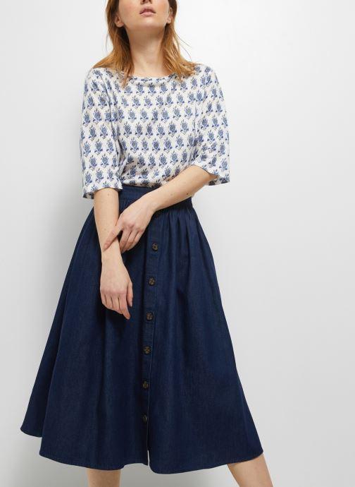 Kleding Monoprix Femme Jupe midi chambray Blauw detail