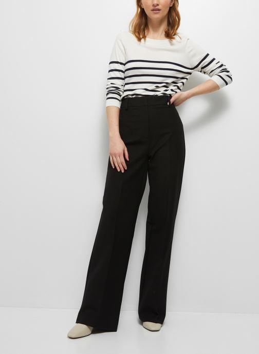 Kleding Monoprix Femme Pantalon taille haute à jambes larges Zwart detail