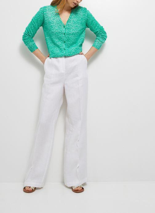 Kleding Monoprix Femme Pantalon large en lin Wit detail