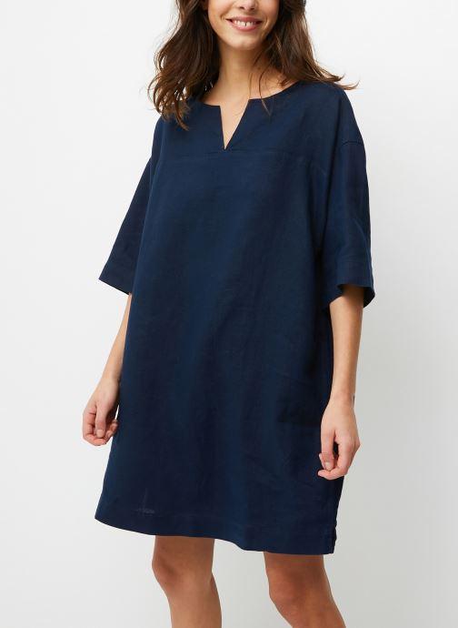 Robe courte manches 3/4 en lin unie