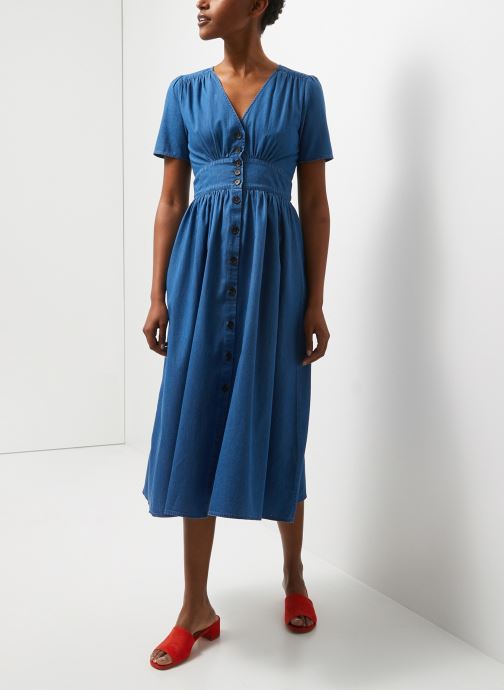 Robe longue boutonnée manches courtes en coton