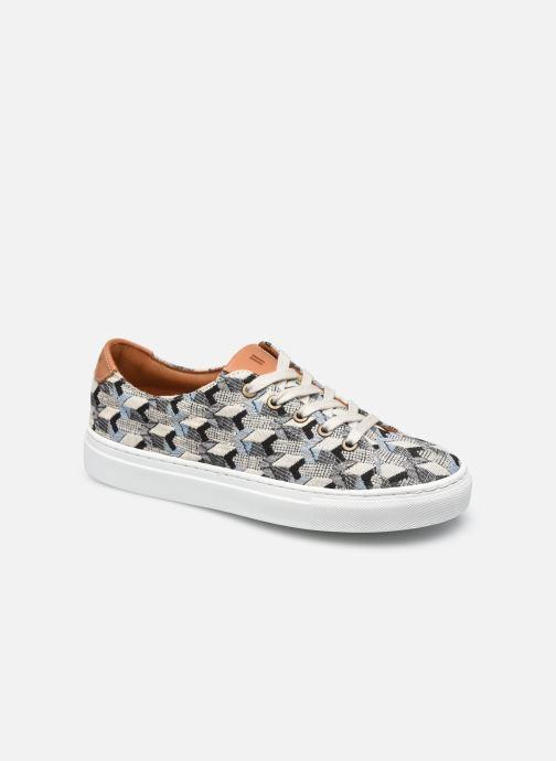 Sneakers Dames Geometrie bleue lacet