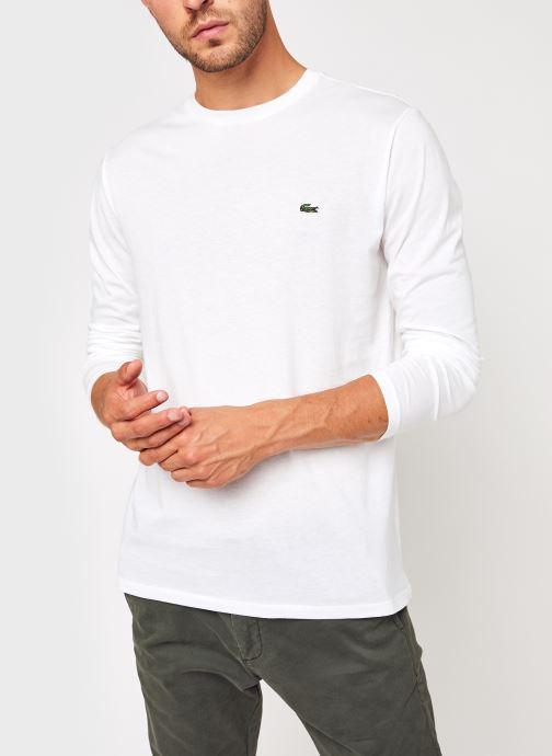 Vêtements Lacoste Tee-Shirt ML Pima Coton Lacoste Blanc vue détail/paire