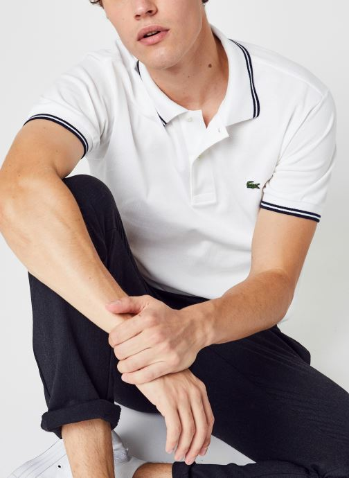 Vêtements Lacoste Polo Droit PH2384 Manches Courtes Blanc vue détail/paire