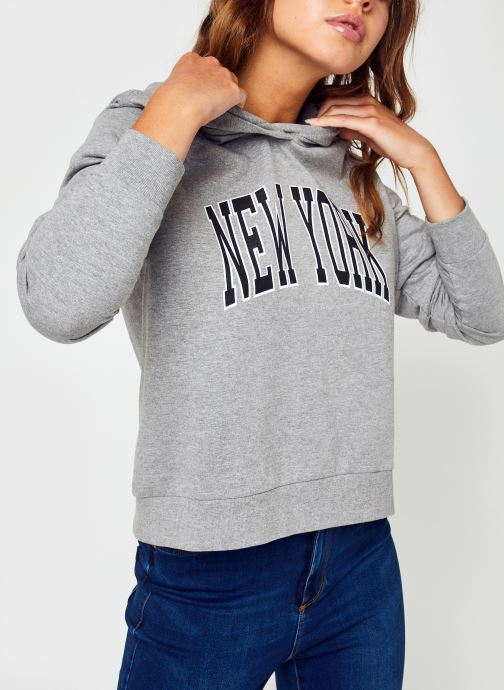 Vêtements Noisy May Nmfame L/S Mix Hood Sweat Gris vue détail/paire