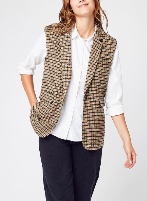 Vêtements Vero Moda Vmlee Check Waistcoat Ga Marron vue détail/paire