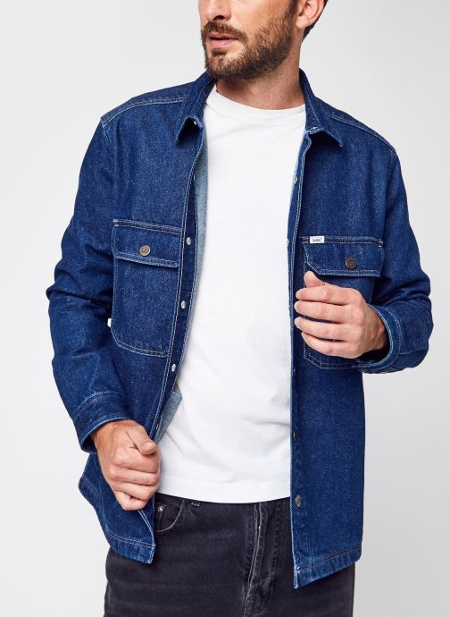 Kleding Lee Workwear Overshirt Dk Stone Bolton Blauw detail