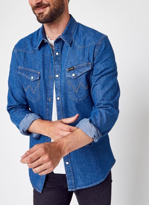 Kleding Wrangler Ls Western Shirt Blauw detail