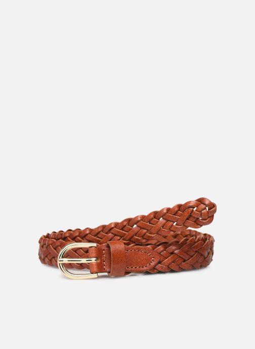 Riemen Pieces Avery Leather Braided Slim Belt Bruin detail