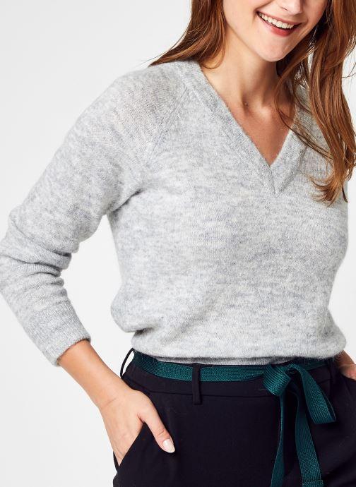 Kleding Selected Femme Slflulu Ls Knit V-Neck B Noos Grijs detail