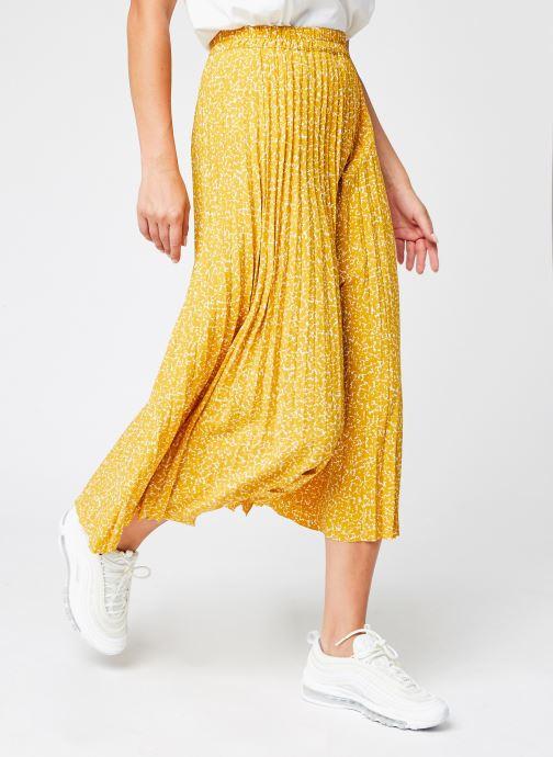 Vêtements Selected Femme Slfalexis Mw Aop Midi Skirt B Jaune vue détail/paire