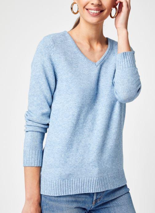Kleding Vila Viril V-Neck L/S Knit Top-Fav Blauw detail