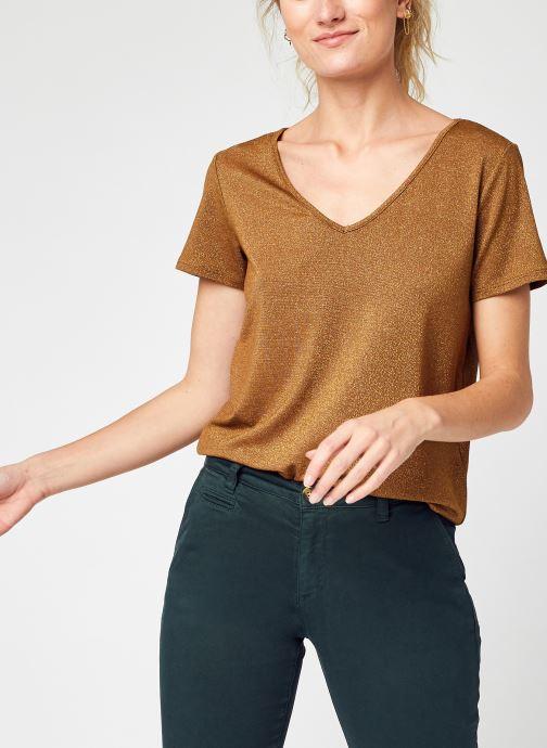 Vêtements Vila Viluxi V-Neck S/S Top - Noos Marron vue détail/paire