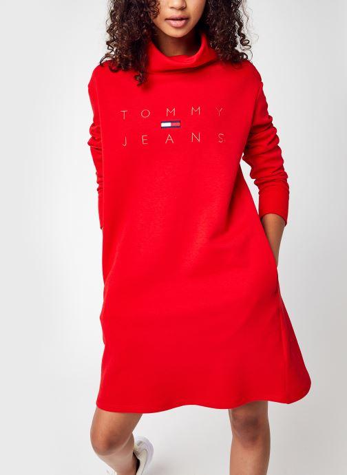 Vêtements Tommy Jeans Tjw Mock Neck Logo Dress Rouge vue détail/paire