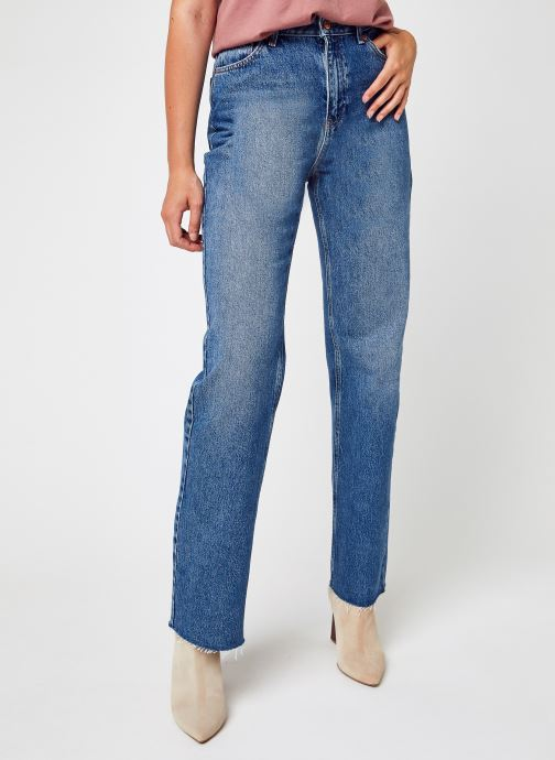 Kleding NA-KD Straight High Waist Raw Hem Jeans Blauw detail