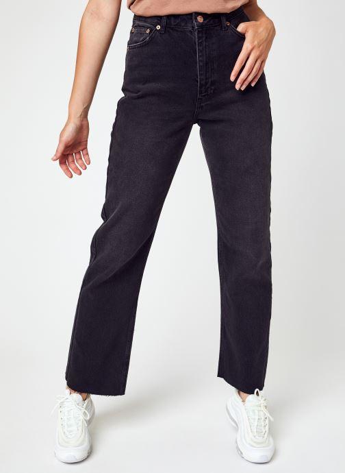 Kleding NA-KD Straight High Waist Raw Hem Jeans Zwart detail