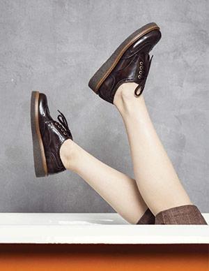 Derbies Rose à Lacets Femme Chaussures En Cuir JONAK
